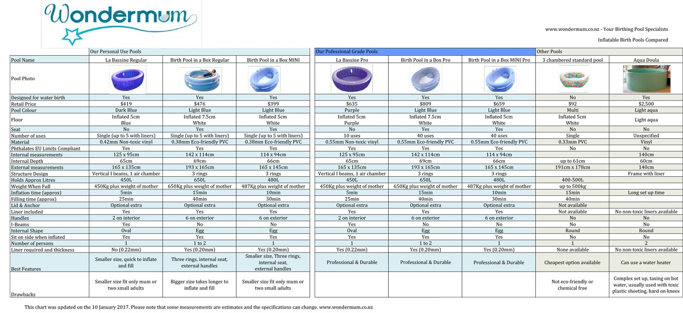 Birth pool comparisons wondermum 2017 pool comparison chart as smart object 2 geenschuldenfo Images